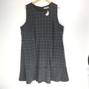 LOFT 24 Gray Pink Plaid Dress Flounce